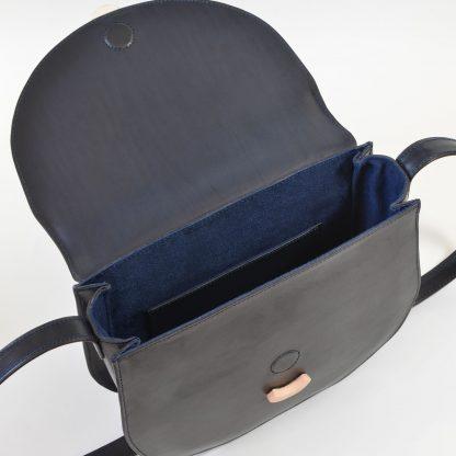 Noir d'Orion, sac besace Hélios bleu nuit, intérieur